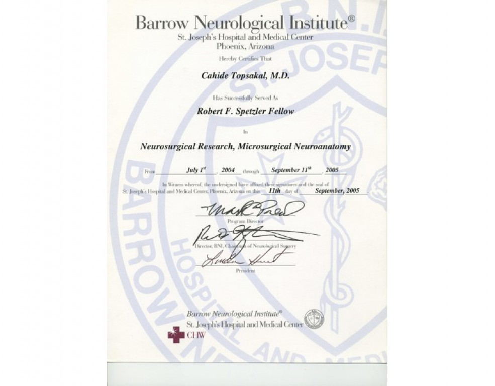 Barrow neurological institute dr cahide topsakal