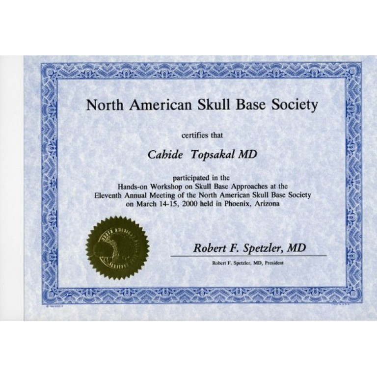 Cahide Topsakal MD north amerikan skull base society