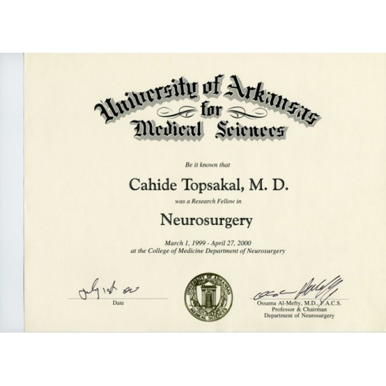 Cahide topsakal md university of arkansas medical sciences