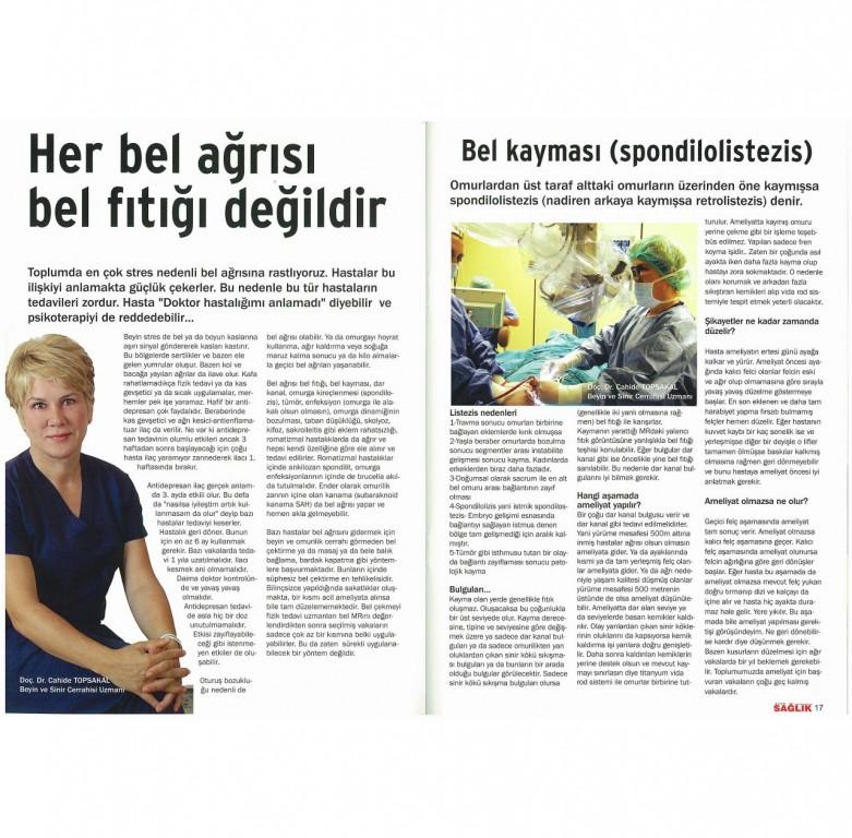 Yazılı Basın -Doç. Dr. Cahide Topsakal - Omurilik ve Sinir Cerrahı