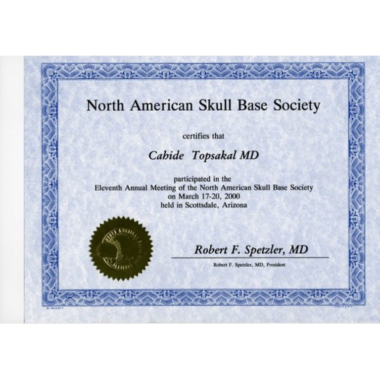 Dr cahide topsakal north amerikan skull base society certifies that arizona