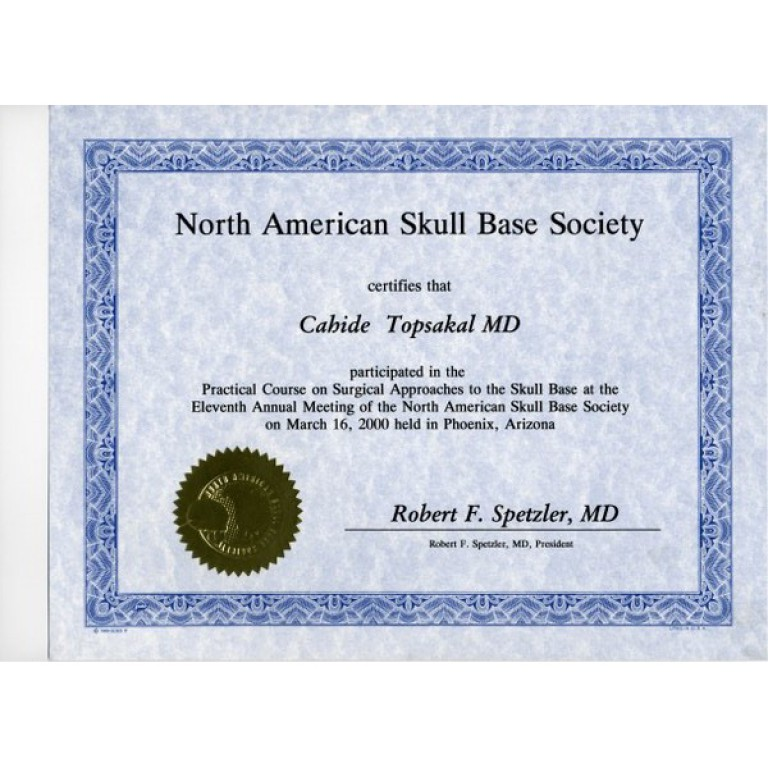 Nort amerikan skull base society certifies that cahide topsakal md