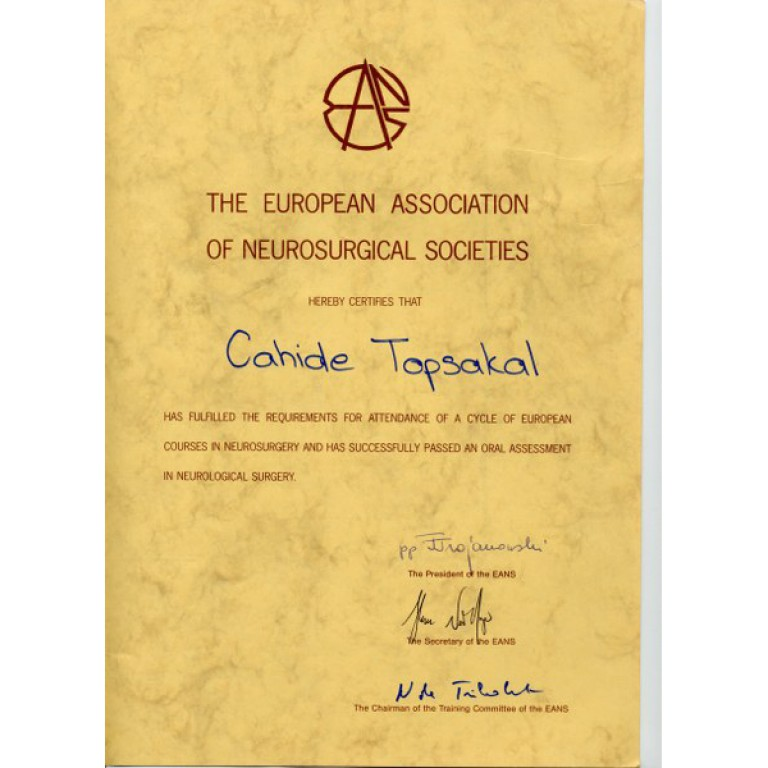 The europen association of neurosurgical societies cahide topsakal