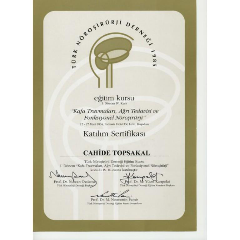 Türk noroloji derneği katılım sertifikası